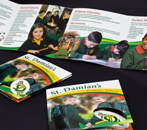 4 Panel Brochure with Gloss Laminate and Die Cut Circle