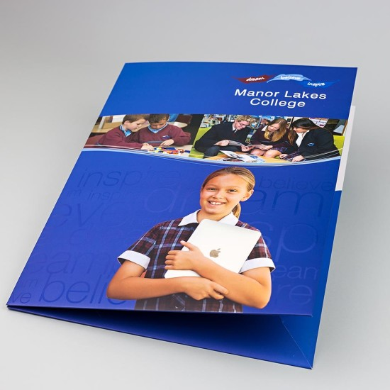 Full colour Presentation Folder with Matt Laminate finished with a 'Spot UV' Coating.