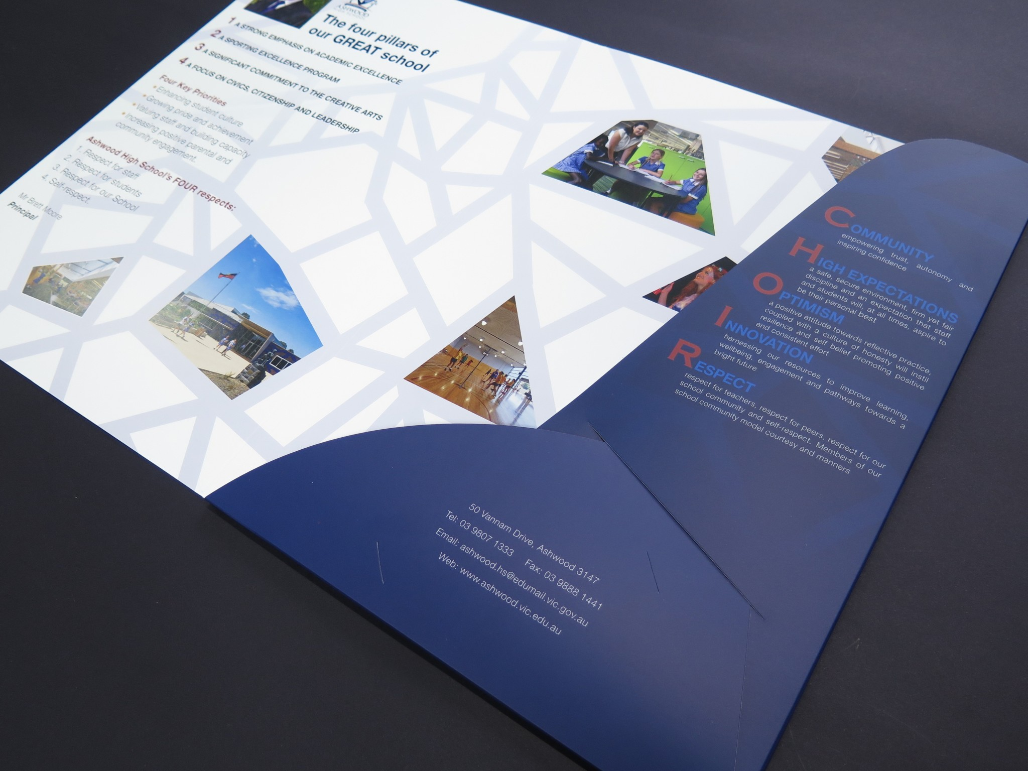 School presentation folder printing print design australia presentation folder printed both sides with business card slot reheart Choice Image